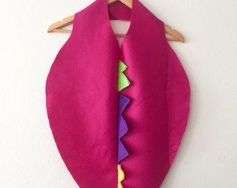 Fuchsia Pink Dino Cape, Dragon Cape, Halloween Costume or Dress Up Dinosaur Cape