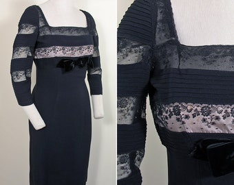 1950s Vintage Black Crepe and Lace Wiggle Dress Size S