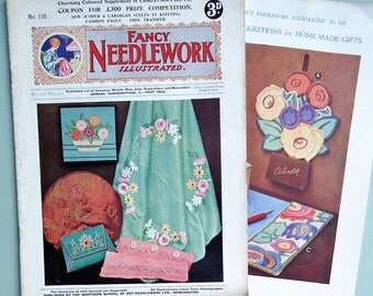 Vintage 1930s Sewing Knitting Magazine  - Fancy Needlework Illustrated No 118 Vol 10 - plus supplement / embroidery transfer - 30s patterns