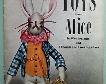 Toys from Alice in Wonderland Vogue-Knit Series No 68 UK 40s 50s Vintage Vogue Sewing Patterns Book soft toys dolls Mad Hatter Rabbit etc