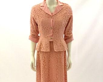 Vintage dress Suit 1950s Dess Lace dress and jacket Suit Pink Suit with Jacket Size Small Dress Suit Mad Men Work Suit Pink Dress Suit