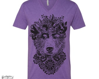 Unisex V-Neck FRIDA BEAR  T-Shirt vintage soft xs s m l xl xxl (+ Colors)