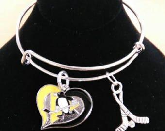 Pittsburgh Penguins Hockey Charm Bracelet, Bangle, Penguins Fan