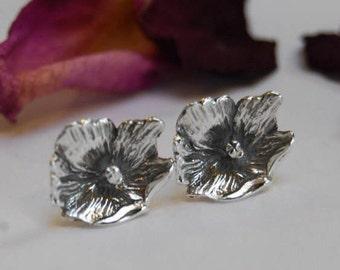 Hibiscus Flower post Earrings Sterling silver Flower carving pretty women's Ear Jackets