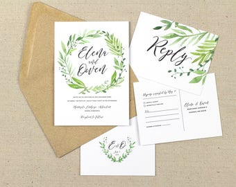 garden greenery wedding invitation, botanical leaf wedding invitations, garden wedding, botanical greenery, watercolor foliage
