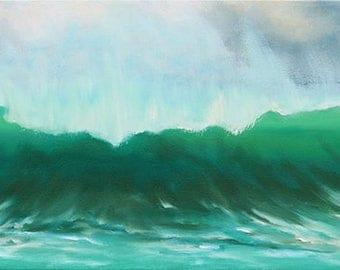 GICLEE Fine Art Reproductions on 8.5x11 PAPER - Green Wave by Daina Scarola (beach break, surf art)