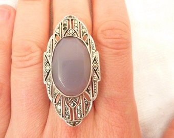 Antique German Art Deco Sterling Silver Blue Chalcedony Marcasite Ring Size 8 3/4