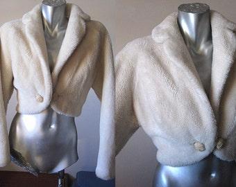 Vintage 50s Off White Faux Fur Shrug Jacket Size Small