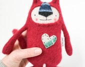 Small Stuffed Animal Cat Red Cashmere Upcycled Sweater Repurposed