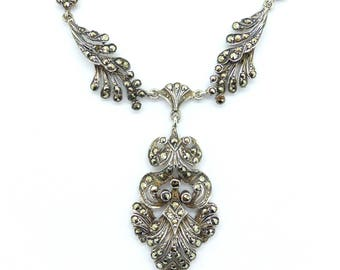 Art Deco Marcasite necklace Unique Sterling silver English Antique 1920's-1930's Vintage wedding bridal jewellery Birthday gift Gatsby style