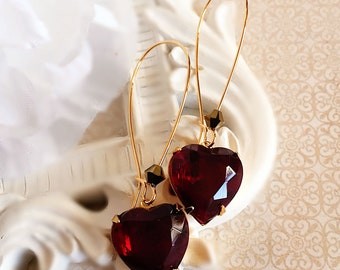Red Heart Earrings - Romantic - Victorian Jewelry - Gift - DELIGHT Red