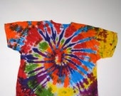 Rainbow Vortex Spiral Tie Dye T-Shirt (Fruit of the Loom Heavy Cotton Size 4XL) (One of a Kind)