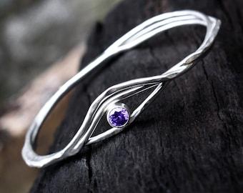 Amethyst Silver Bangle, Sterling Silver Bangle, Amethyst Birthstone Bracelet, Organic Design Silver Bangle, Argentium Silver Stacking Bangle