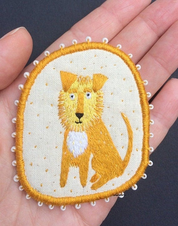 "Textile Pet Portrait Brooch - ""Leo"" -  Funny Dogs - collection, hand embroidered textile dog jewelry"