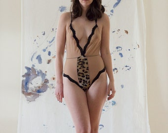 Fancy Feminist Cheetah Print and Black Lace Lingerie Bodysuit