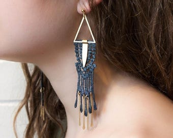 Lace earrings - PARLAY - Black, burgundy or teal lace