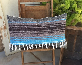 Blues Black and Shades of Grey  Woven Wool and Mexican Blanket Pillow Cover  16x26   Boho style Lumbar with fringe