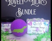 Lovely Lilac Scent of the Month Bundle, Soap, Bath Bomb, Scrub, Limited Edition, Lilac Soap, Lilac Bath Bomb, Lilac Scrub, Sugar Scrub