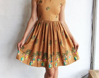 Vintage 1950s Brown Garden Party Dress, XS