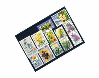 Flower Stamps, World Postage Stamp Selection on Stock Card