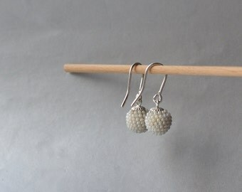 little pearly  bridal earrings silver and glass beads