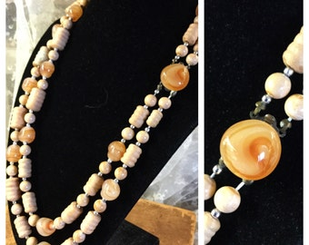 Unique Double Strand Glass and Wood Bead Necklace Barrel Round and Pebble Shaped Glass Caramel Dome Clasp Unsigned