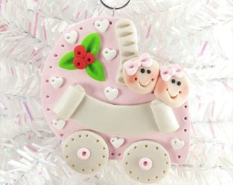 Baby Shower Gift - Twins First Christmas - Twin Girls - Personalized Baby's First Christmas Ornament - Polymer Clay Baby Ornament - 161
