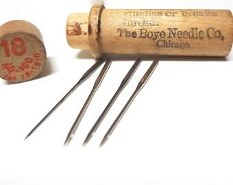 Vintage Wood Case With 4 Needles By Boye Needle Company  40-100 #18