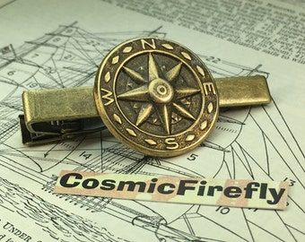 Steampunk Compass Tie Bar Nautical Tie Bar Antiqued Brass Steampunk Tie Clip Men's Tie Clip Handcrafted Tie Bar Expertly Handcrafted By Cosm
