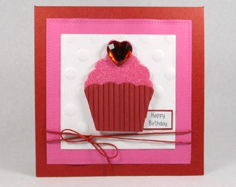 Birthday cupcake cards, girls birthday card, cupcake cards, happy birthday cards, embossed birthday cards, kids birthday cards