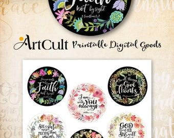 """Printable 2.5"""" size circles BIBLE VERSES Set No2. Digital Collage Sheet for Pocket Mirrors round hang tags Magnets Paper Weights by ArtCult"""