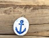 Great lakes anchor pendant nautical charms anchor charm clay button ceramic anchor focal blue anchor mascot Mona Shores ceramic oil diffuser
