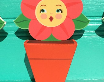 Anthropomorphic Flower in Flowerpot Favor Boxes DIY Printable File Craft