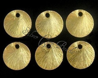 6 pcs- 24k Vermeil Brushed Textured Round Link- 10mm
