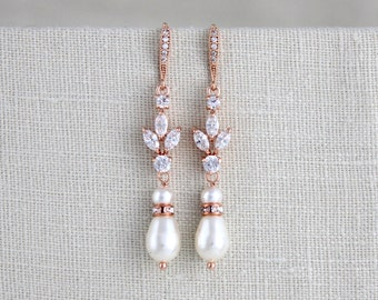 Rose Gold bridal earrings, Wedding jewelry, Crystal Wedding earrings, Rose gold earrings, Pearl earrings, Crystal earrings, Pearl drop EMMA