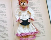 Reserve listing for thehouseonthehill1:  crochet bookmark, wolf in granny's nightgown, unique bookmark, wolf decoration