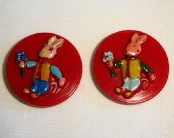 2 Vintage painted French Plastic Buttons - very cute handpainted Bunny Buttons