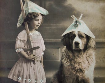 Antique girl with dog photo postcard, Antique Saint Bernard dog and girl photo postcard, Dressed up dog photo postcard, Dog with hat RPPC
