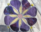 Purples and Yellow Stained Glass Flower Suncatcher
