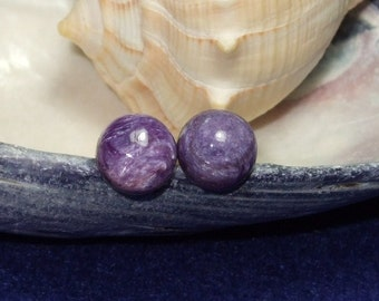 Natural Charoite 8mm Round Stud Type Earrings Earings Titanium Hypo Allergenic Handmade in Newfoundland Rich