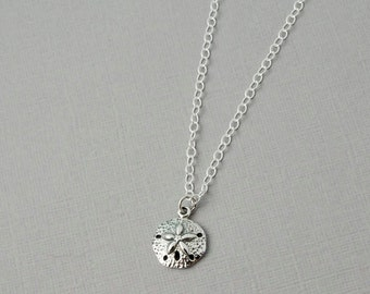 Sand dollar charm necklace / Silver sand dollar / Sterling silver