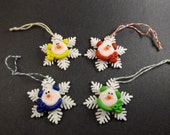 Set of 4- Whimsical Snowman/Snowflake Christmas Ornaments, Package Decorations, Party Favors, Christmas, The Critter Company, Bright Colors