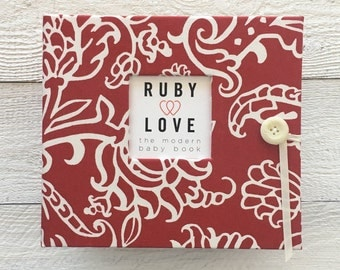 BABY BOOK | Red Serafina Floral Album |  Ruby Love Modern Baby Memory Book