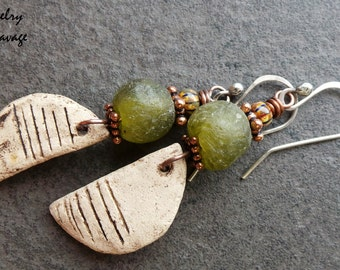 Tribal Primitive Tumbled Green Glass And Rustic Ceramic Charm Earrings, Distressed Shards and Green Glass Copper Czech Glass Earrings