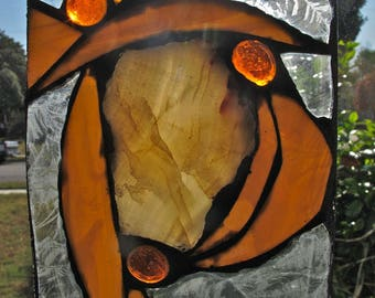 Agate and Stained Glass Suncatcher