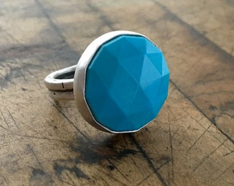 Sterling Silver Ring with Sleeping Beauty Turquoise - Rose Cut - Size8