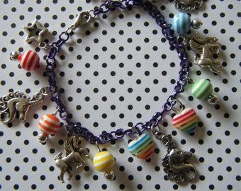 Rainbow Unicorn with silver charms kawaii charm bracelet