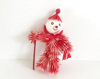 Vintage CHRISTMAS Ornament Spiky Poinsettia Flower Pixie Elf Red Plastic Cane