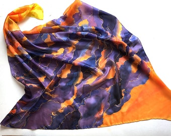 Square hand painted Silk Scarf- Purple Sunset/ Bandana scarf, Bright colored summer scarf, Purple Sky Scarf, Designer scarf, Gift for her KA