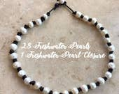Freshwater Pearl Leather Necklace, Freshwater Pearl Leather Choker, Full Strand Pearl Leather Necklace, All Around Pearl Leather Necklace